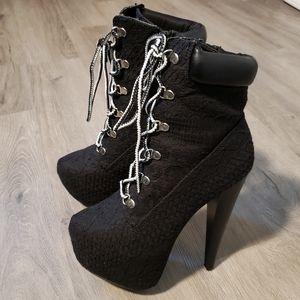 Black lace, lace up platform heels